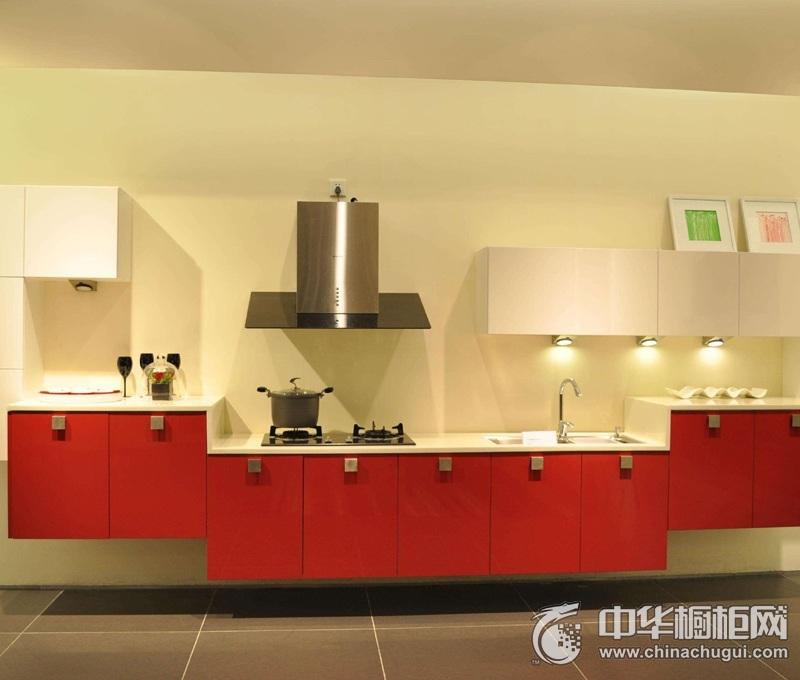 厨房红色简约风格橱柜效果图 红色系整体橱柜效果图