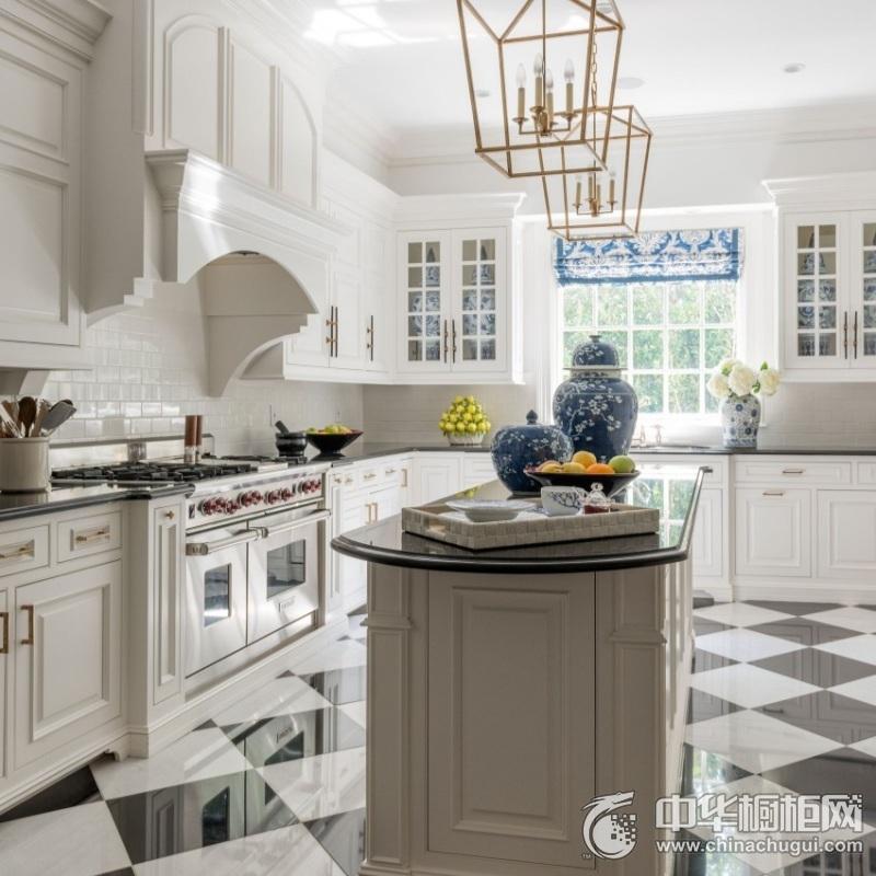 北欧风格厨房黑白整体橱柜装修效果图 经典橱柜装修效果图