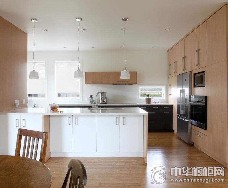 厨房简约风格橱柜装修实景图 黑白经典色橱柜图片