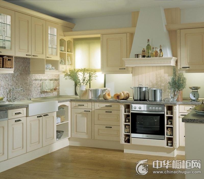 清新田园风格白色整体橱柜效果图 厨房整体橱柜效果图