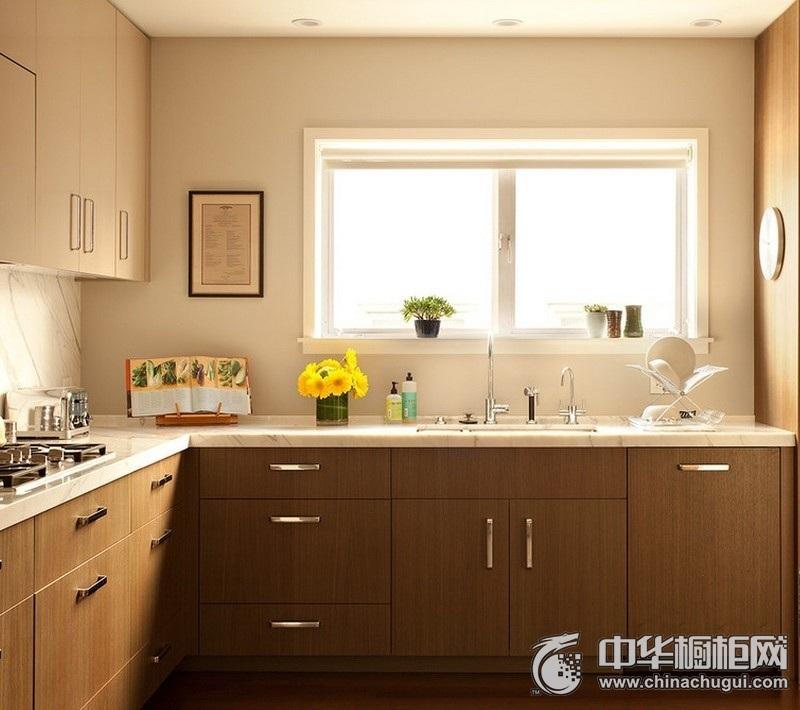 小户型厨房木纹整体橱柜效果图 木纹橱柜效果图