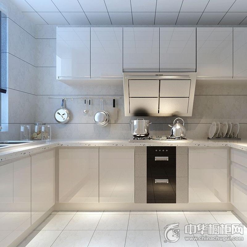 清爽简约白色烤漆橱柜图片 二居室厨房橱柜装修效果图