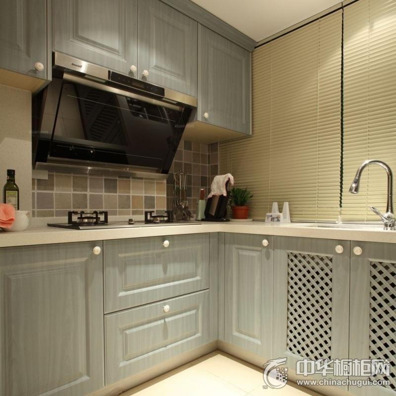 复式厨房蓝色整体橱柜效果图 橱柜装修效果图