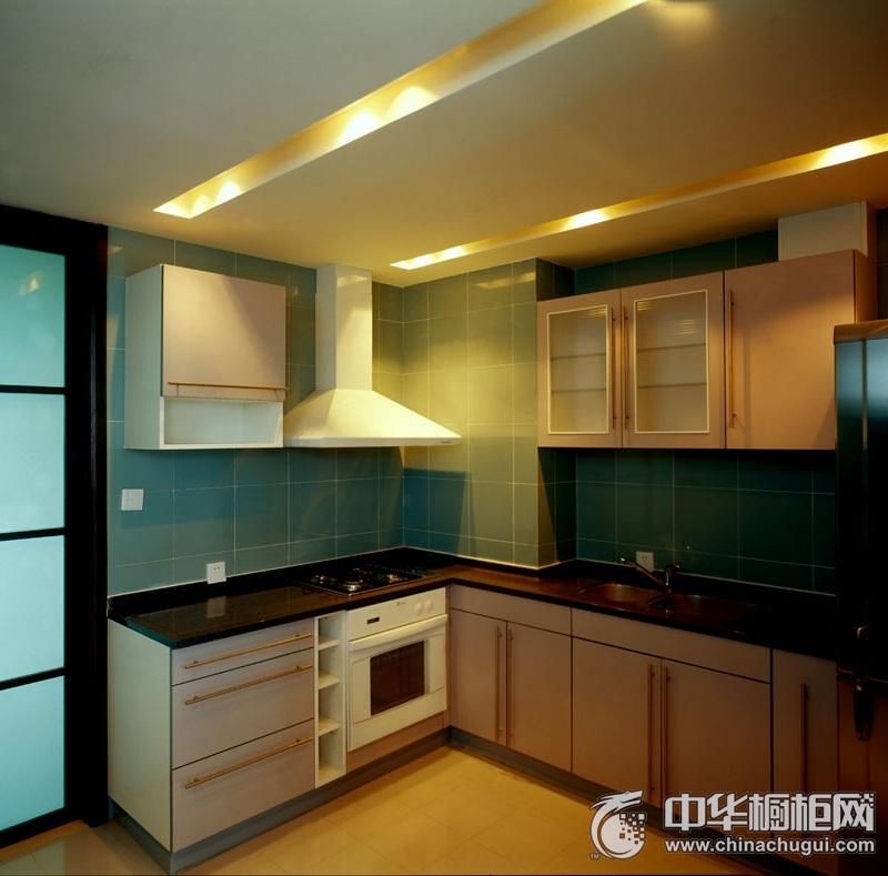 舒适简欧厨房橱柜装修效果图 白色l型整体橱柜效果图