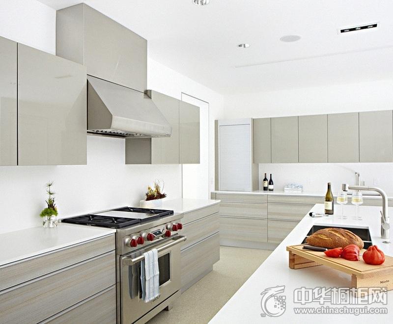 清新厨房灰色橱柜装修效果图 整体橱柜装修实景图