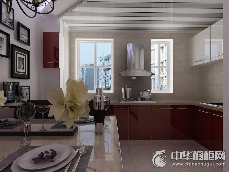 开放式厨房红色烤漆橱柜图片 简约风厨房橱柜装修效果图