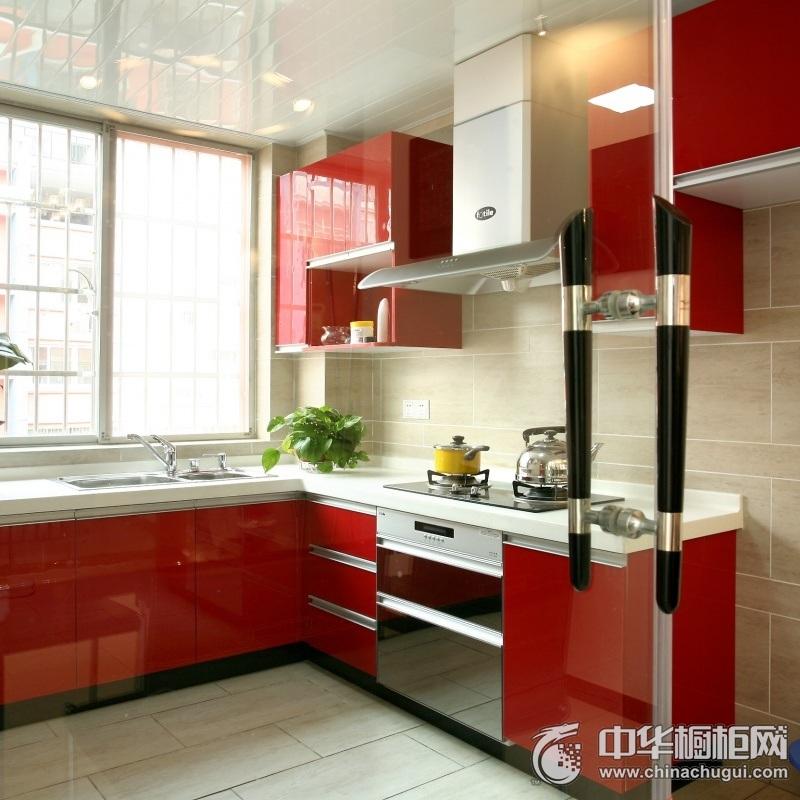 现代简约红色橱柜装修效果图 小户型厨房整体橱柜效果图