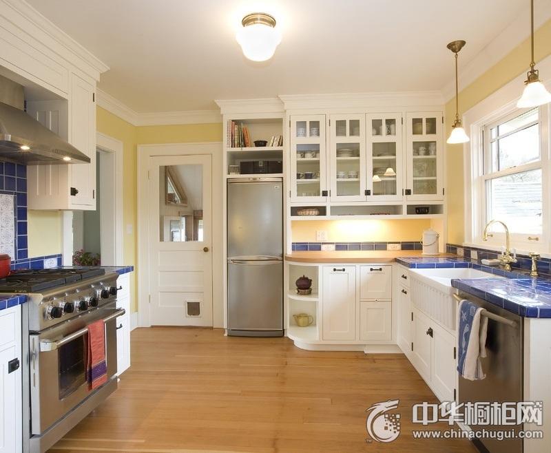 地中海风格L型整体橱柜效果图 打造清爽的厨房空间