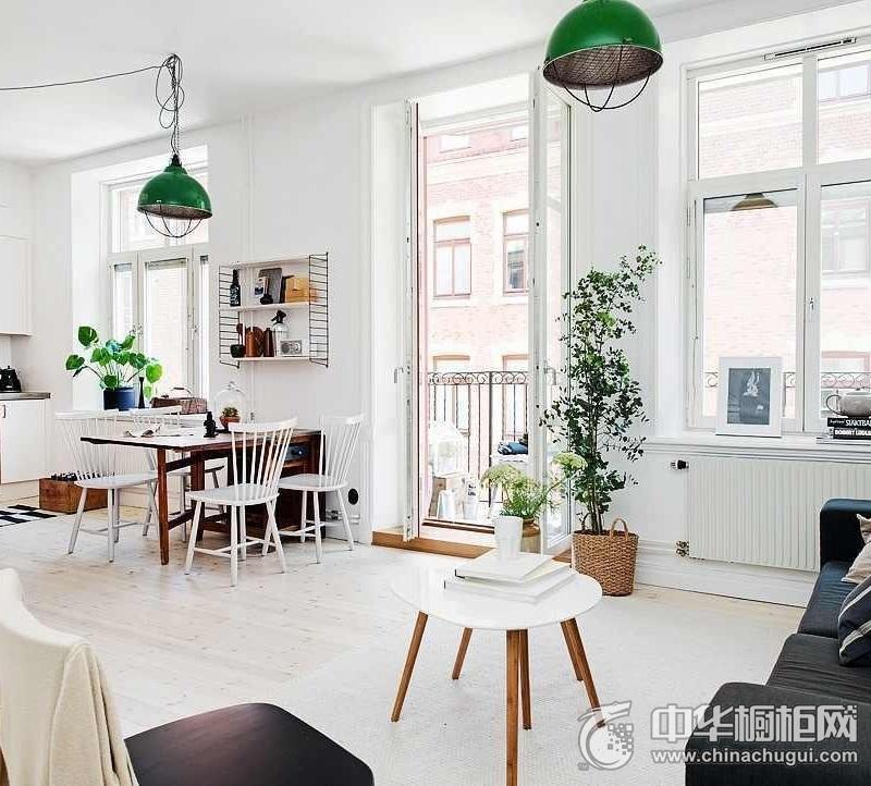 北欧厨房整体橱柜效果图 一字型白色整体橱柜效果图