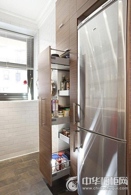 小户型简约厨房装修图片 木纹整体橱柜图片