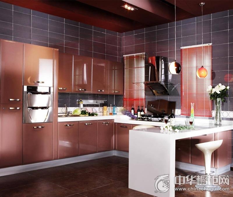 咖啡色厨房整体烤漆橱柜效果图 小空间不再局促