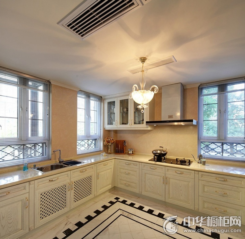 美式风格大户型厨房整体橱柜效果图  让收纳更加多样化