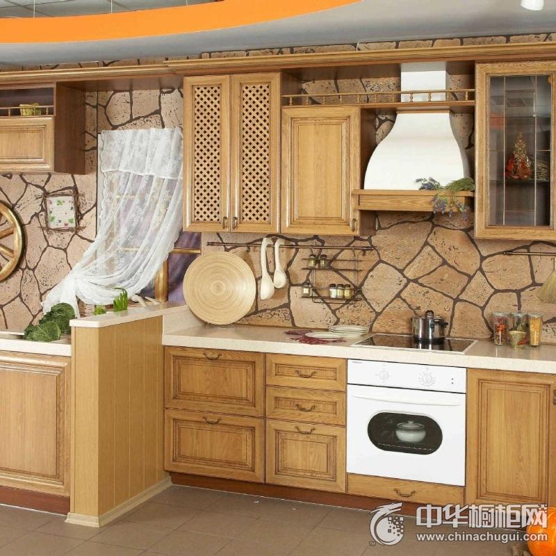 小户型厨房实木橱柜装修效果图 温馨氛围迎面而来