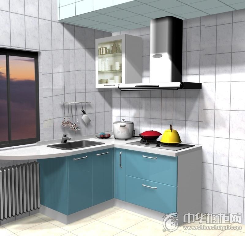 小户型简约格子墙蓝色橱柜装修效果图 打造完美L型小厨房