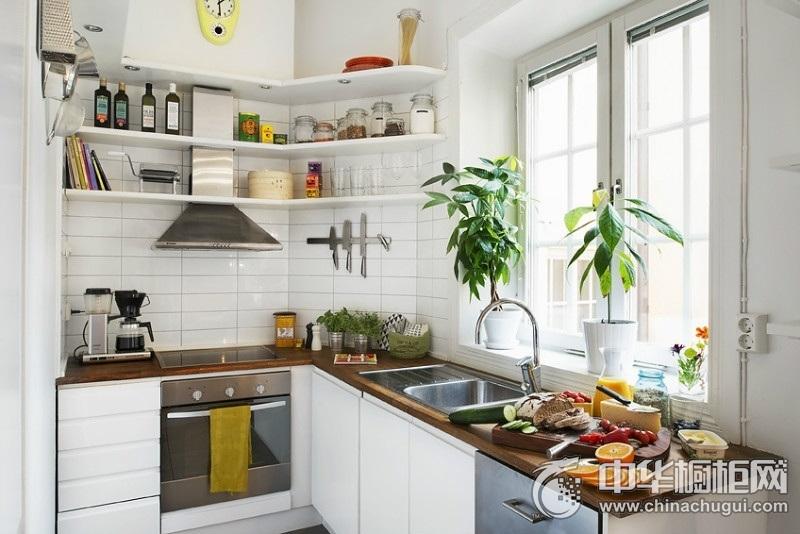 田园风格白小户型橱柜装修效果图 顺畅线条朴素大方