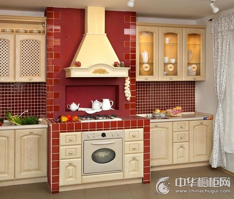 厨房一字型实木橱柜装修效果图 打造时尚餐厨空间
