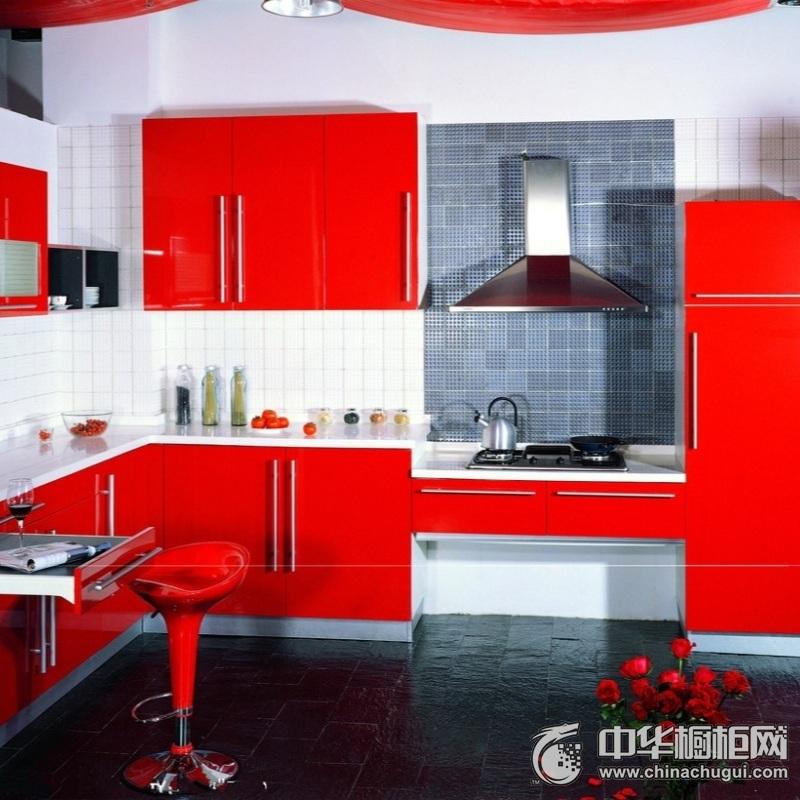 三居室现代简约红色橱柜效果图 简洁的现代化设计