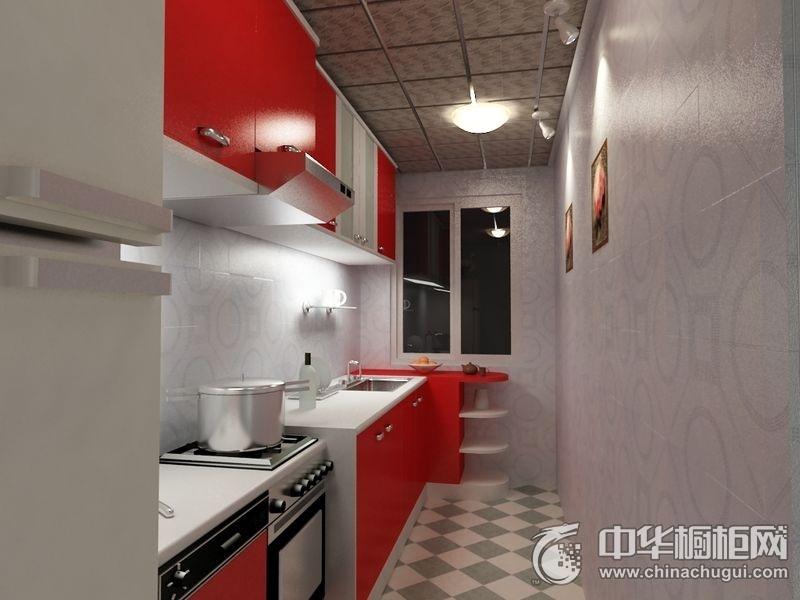 小户型现代风格红色橱柜装修效果图 时尚与大方相互映衬