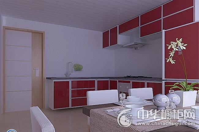 三居完美混搭红色橱柜装修效果图 储物与装饰功能兼备