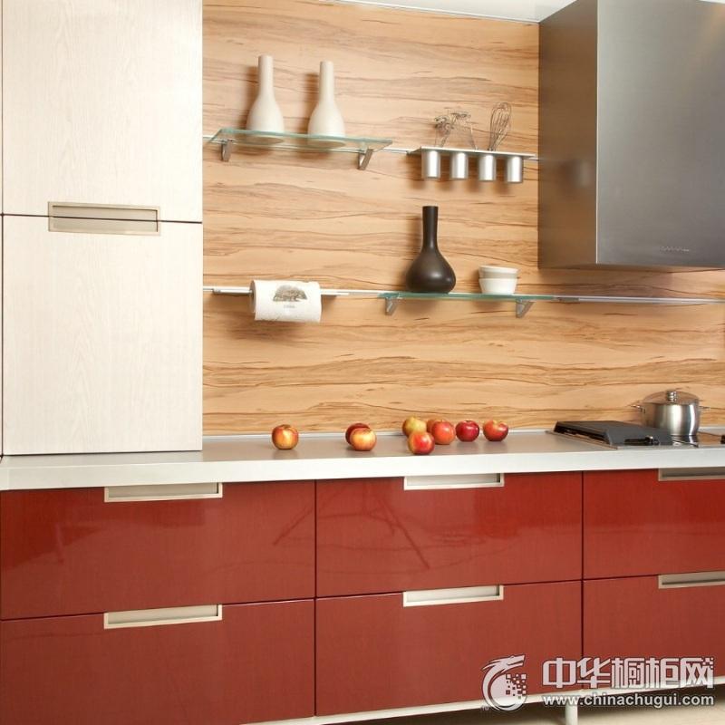 混搭三居亮红色橱柜装修效果图 洗切煮区域动线流畅
