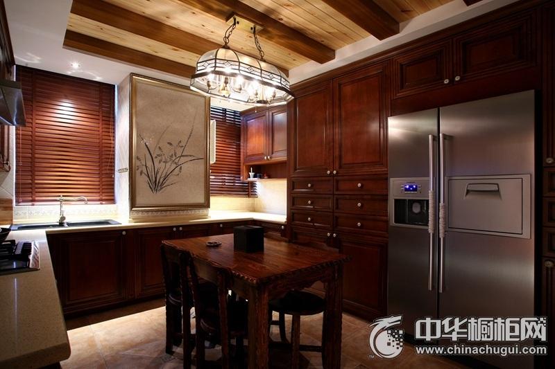 中式风格厨房实木橱柜装修效果图 感受宁静与自然