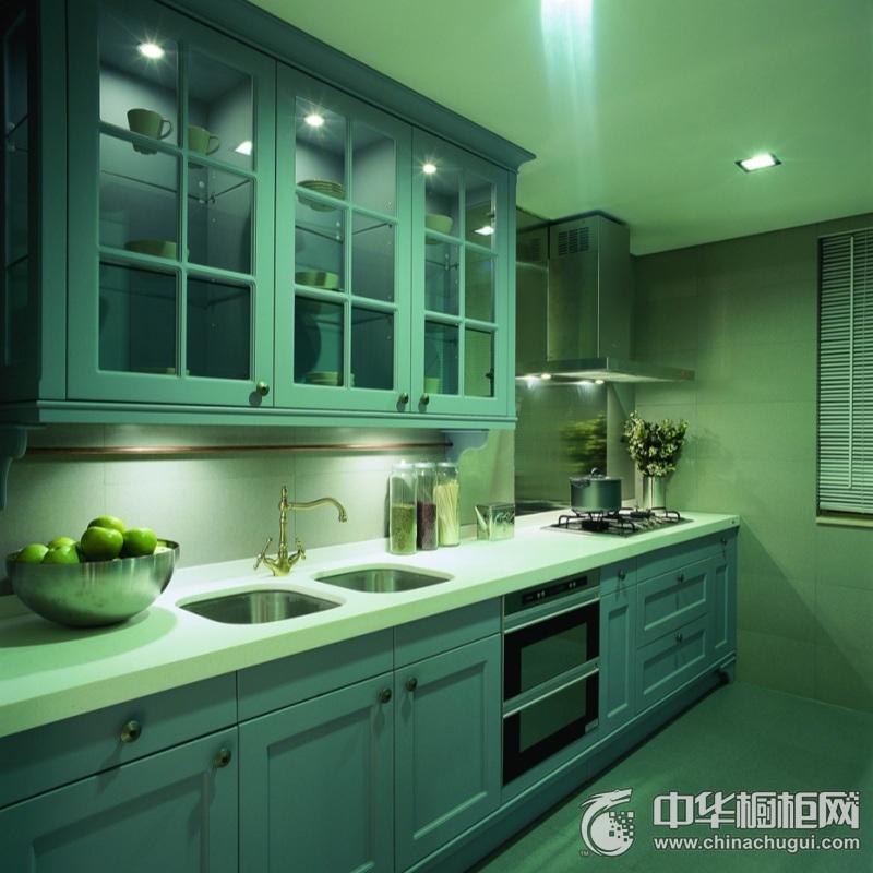 美式风格蓝绿色厨房橱柜设计图片 完美布局互不干扰