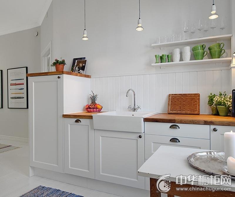 田园风格风格白色厨房整体橱柜效果图 厨房布置井井有条