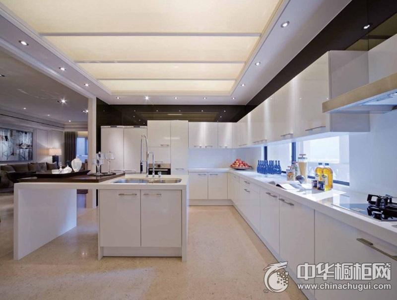 大户型简约风别墅厨房橱柜装修效果图 白色橱柜效果图