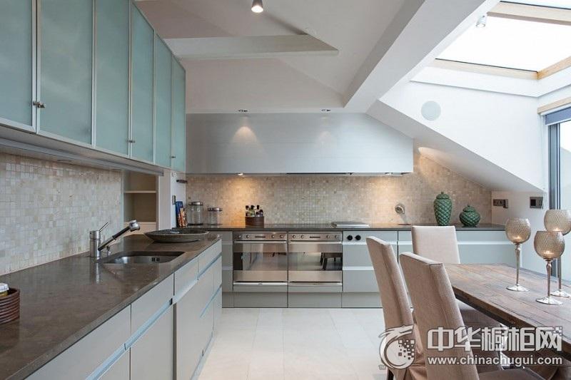 现代风格精致时尚厨房橱柜装修图片 L型整体橱柜图片