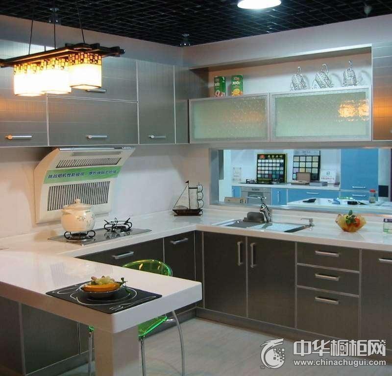 简约风居灰色橱柜装修效果图 厨房整体橱柜装修效果图