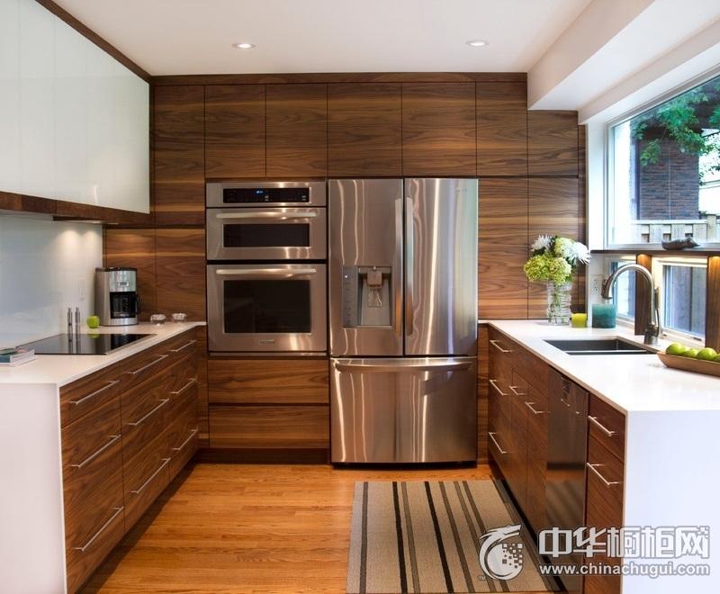 简约风别墅木纹整体橱柜装修效果图 厨房橱柜效果图