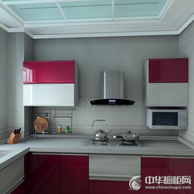 简约风厨房烤漆整体橱柜图片 红色烤漆橱柜图片