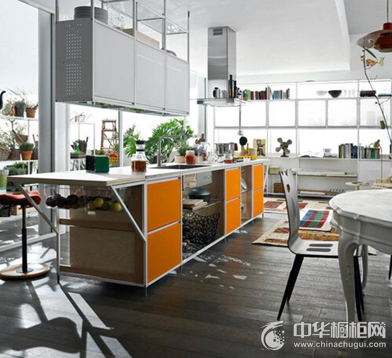 田园风格开放式厨房橙色橱柜装修效果图 一字型橱柜效果图