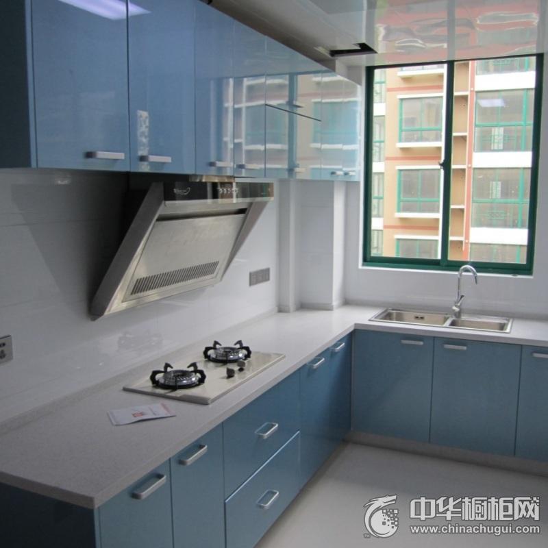 简约风厨房蓝色整体橱柜效果图  蓝色橱柜效果图