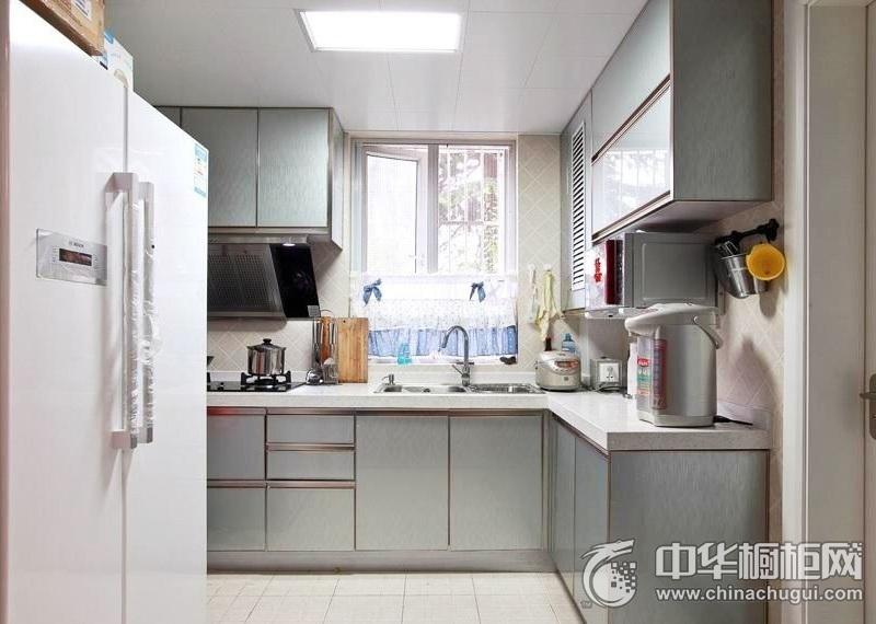 三居室简约风厨房L型橱柜装修效果图 厨房整体橱柜效果图