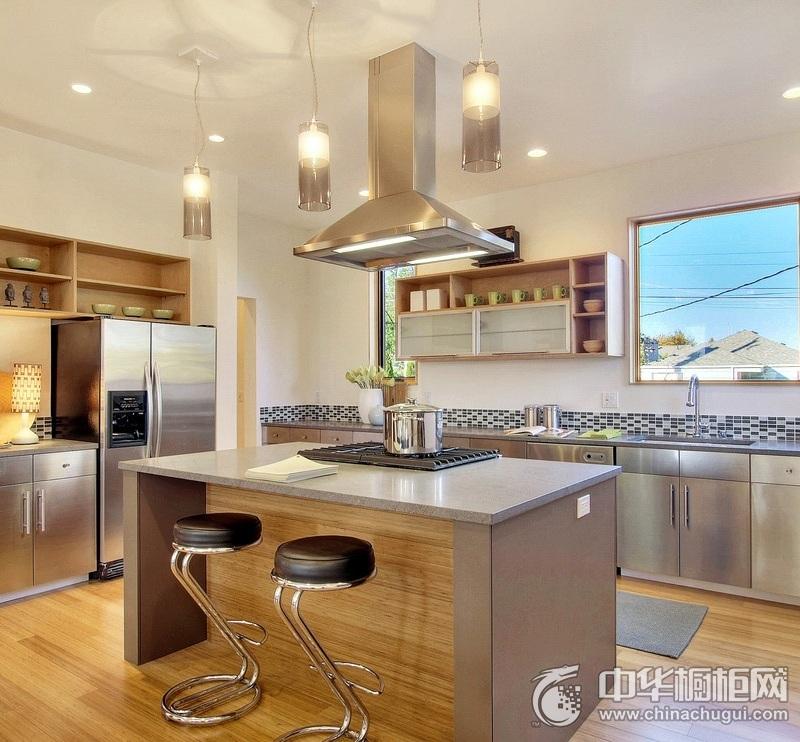 现代风金属结构整体橱柜效果图 金属烤漆整体橱柜图片