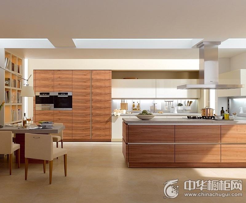 淡雅简约风格厨房木纹整体橱柜效果图 不失优雅别致与个性