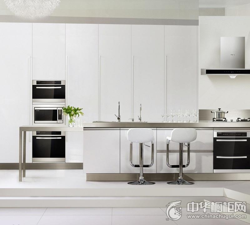 简约风格厨房白色橱柜装修实景图 中岛台整体橱柜图片