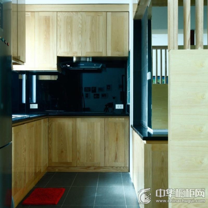 现代风格实用厨房原木色橱柜装修图片 实木整体橱柜图片