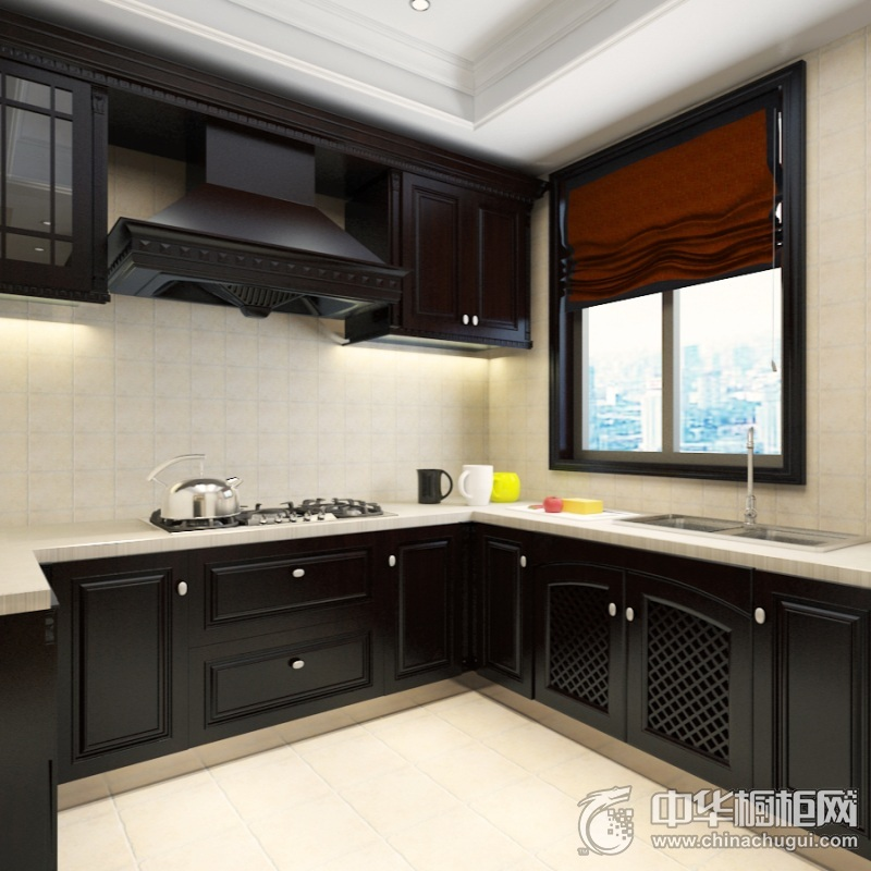 北欧风格厨房黑色橱柜装修实景图 L型整体橱柜装修效果图