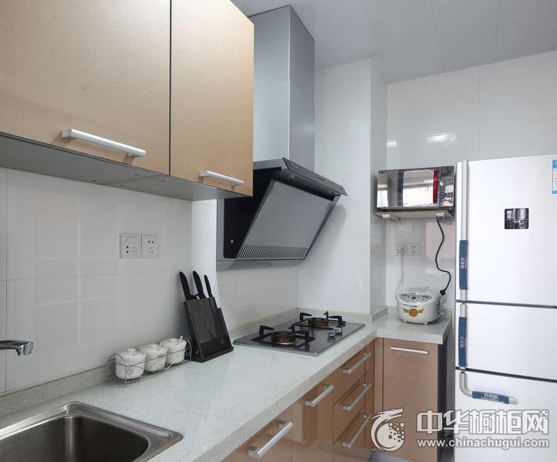 简约风格简洁厨房橱柜装修实景图 咖啡色整体橱柜图片