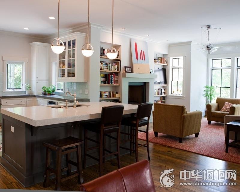 美式风格家居环境厨房橱柜装修实景图 岛型橱柜图片