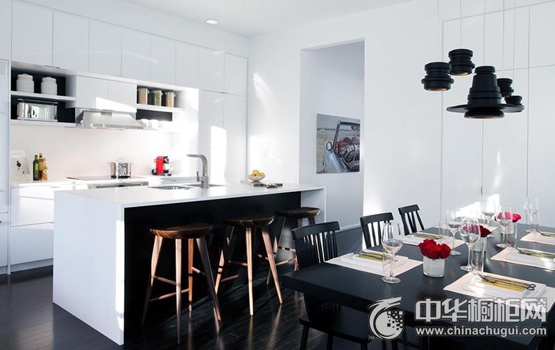 简洁造型经典厨房黑白橱柜装修实景图 耐污力强打理方便
