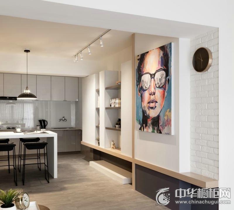 整洁厨房灰色整体橱柜效果图 灰色橱柜装修实景图