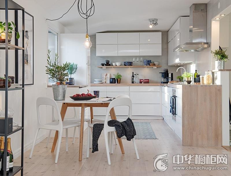田园风格洁净厨房橱柜装修设计图片 L型整体橱柜图片
