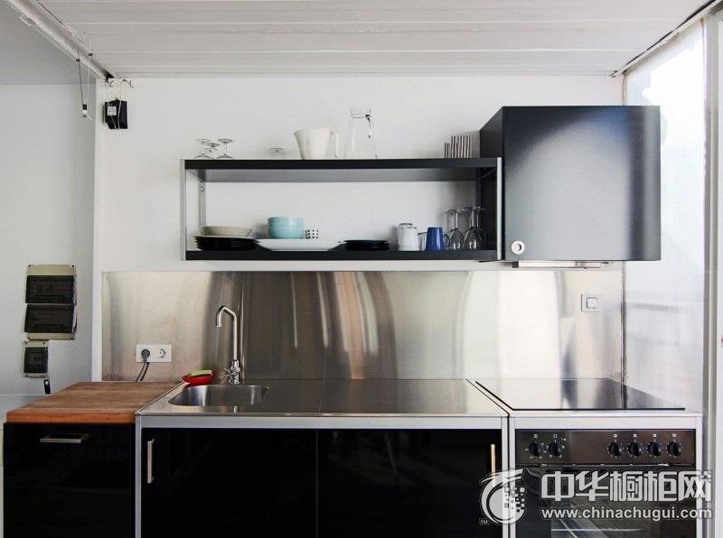 现代风格精致厨房黑色橱柜装修图片 黑色橱柜图片