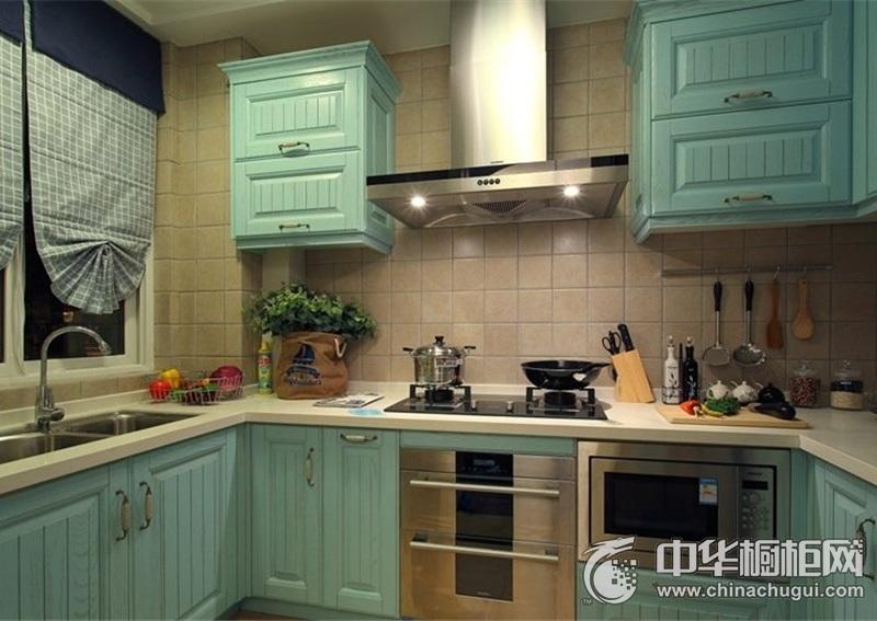 小户型厨房蓝色橱柜设计图 格局色调让人一见钟情