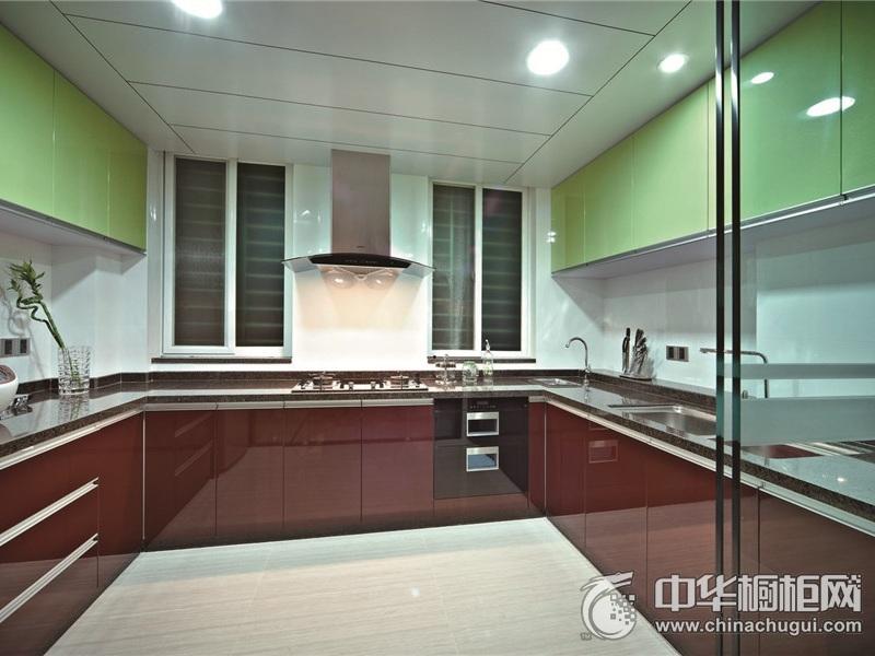 厨房U型红色烤漆橱柜效果图 烤漆橱柜效果图