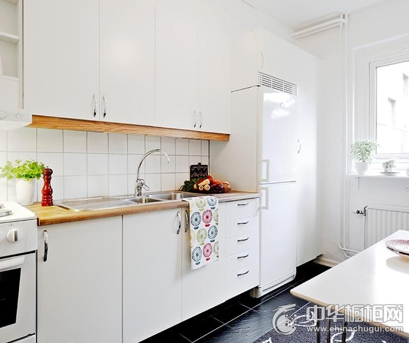 田园风格白色厨房一字型橱柜效果图 渲染温馨舒朗的氛围