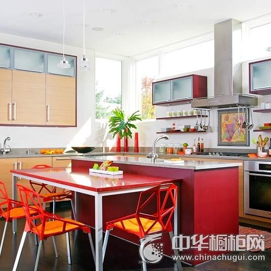 红色简约风格橱柜效果图  大红色整体橱柜图片
